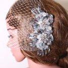 Bridal Flower Comb Wedding Hair Accessories Crystal Headpiece Birdcage Veil