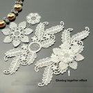 4 Sets Off White Bridal Wedding Rose Flower Floral Leaf Lace Applique