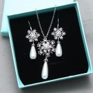 Handcraft Snowflake Pearl Wedding Necklace Bridal Earrings Winter Jewelry Set