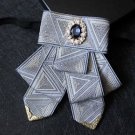 Party Men Wedding Pre Tied Triangle Ribbon Rhinestone Silver Bow Tie Neck Tie