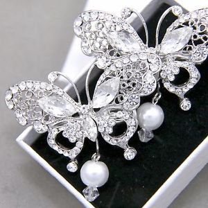 1 Pc Faux Pearl Butterfly Rhinestone Crystal Wedding Bridal Hair Alligator Clip