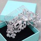 Wedding Rhinestone Flower Crystal Silver Hair Clip Comb Bridesmaids Headpiece