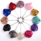Wedding Men Fashion Party Ribbon Rose Boutonniere Corsage Brooch Pin