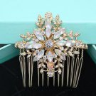 Rose Gold Cross Rhinestone Crystal Wedding Headpiece Bridal Hair Comb