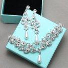Teardrop Vintage Bridal Jewelry Pearl Earrings Wedding Hair Clip Jewellery Set