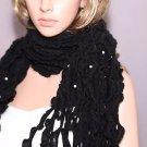 Fashion Women Ladies Pearl Black Acrylic Wool Winter Scarf Shawl