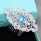 Blue Rhinestone Crystal Vintage Hair Comb Beach Wedding Head Accessories