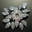 Rhinestone Crystal Leaf Rose Wedding Flower Brooch Pin Jewelry