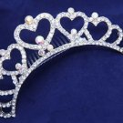 Heart Aurora Rhinestone Crystal Crown Bridal Jewelry Wedding Comb