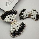 A Pair Faux Pearl Black Beads Fashion Rhinestone Black Shoe Clips