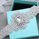 Bridal Wedding Vintage Rhinestone Crystal Ribbon Satin Sash Dress Belt