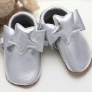 Star Moccasins Infant Baby Boy Toddlers Silver Soft Genuine Leather Shoes