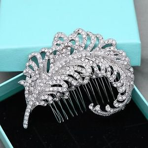 Vintage Bridal Clear Rhinestone Crystal Silver Tone Feather Wedding Hair Comb