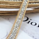 2 Meter Silver Beaded Crystal Wedding Sash Gold Chain Trim Iron Sew Applique