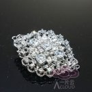 Wedding Rhinestone Crystal Oval Shape Silver Tone Brooch Pin Bridal Jewelry