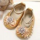 Rhinestone Crystal Infant Newborn 6-12 months Baby Girl Gold Flower Shoes