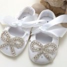 Infant Newborn 6-12 months Baby Girl White Rhinestone Crystal Bow Ties Shoes