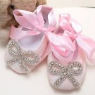 Infant Newborn 6-12 months Baby Girl Pink Flower Lace Crystal Bow Ties Shoes