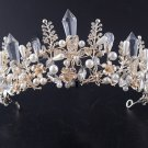 Bridal Gold Crystal Beads Butterfly Wedding Princess Crown Hair Accessories