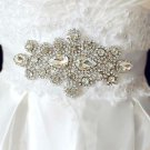 Wedding Bridal Teardrop Rhinestone Applique Black (Other) Ribbon Sash Belt