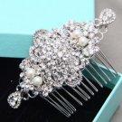 Vintage Style Bridal Rhinestone Comb Wedding Hair Clip Crystal Pearl Headpiece