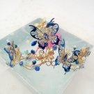 Bridal Blue Butterfly Crystal Beads Gold Wedding Crown Tiara Headpiece