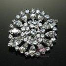 Oval Shape Diamante Rhinestone Crystal Wedding Brooch Pin Jewelry Accessories