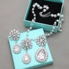 Handcraft Rhinestone Crystal Flower Pearl Necklace Earrings Wedding Jewelry Set