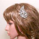 Vintage Wedding Leaf Rhinestone Bridal Headpiece Crystal Pearl Hair Comb