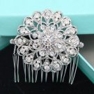 Round Flower Bridal Rhinestone Comb Vintage Wedding Hair Head Crystal Headpiece