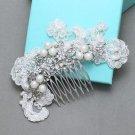 Vintage Bridal Flower Rhinestone Pearl Lace Hair Comb Wedding Crystal Headpiece