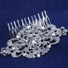 Wedding Bridal Rhinestone Crystal Faux Pearl Silver Vintage Hair Comb