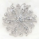 Vintage Style Round Rhinestone Wedding Flower Cake Crystal Brooch Pin Jewelry