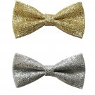 Mens Faux Leather Gold Silver Colors Pre Tired Bow Tie Adjustable Bowtie