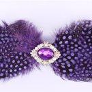Rhinestone Crystal Wedding Men Pre Tied Vintage Bow Tie Neck Feather Tie