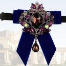Black Blue Burgundy Velvet Rhinestone Wedding Men Pre Tied Bow Tie Neck Tie