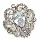 Vintage Style Clear Rhinestone Crystal Princess Wedding Brooch Pin