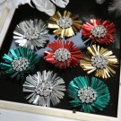 2pcs x Color sparkling Rhinestones Crystal Flower Bow Boots Shoe Clips Charms