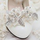 2pc x Fashion Women Flower Rhinestone Crystal Color Ribbon Bow Shoe Clips Charms