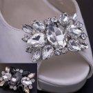 Wedding Bridal Clear Black Rhinestone Crystal Vintage Style Shoe Clips Pair