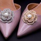 A Pair Gold Silver Rhinestone Crystal Wedding Flower Shoe Clips Decoration
