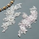 1 Pair Bridal Wedding Pink Or Cream Flower Embroidered Lace Pearl Applique Pair