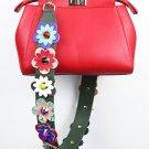 Faux Leather Handbag Strap Replacement Handle Flower Chain Purse Accessories