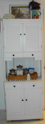 White Tall Kitchen storage cabinet with hutch