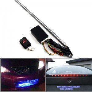 High Quality Adjust 7 Color Flash Speed 48 SMD RGB LED Strip 22 In. & RC Remote Control For Car Auto