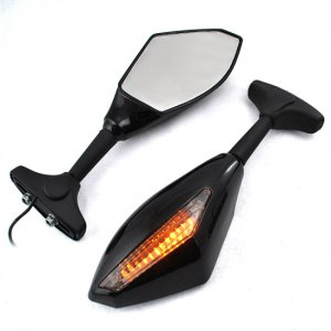 Amber LED Turn Signal Lights Blinker Indicator Side Marker Integrated Black Side Rear View Mirrors
