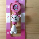 adorable cute wood phone pouch zipper keychain white pink disney marie cat wooden key ring key chain