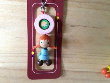 adorable cute wood phone pouch zipper keychain  fairy tale doll happy doll wooden key ring key chain