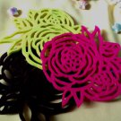 Set 4 coasters handmade eco friendly natural red green black rose felt coaster Tak Fung Hong Hk