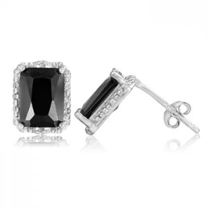 Black Onyx and Diamond Accent Sterling Silver Earrings